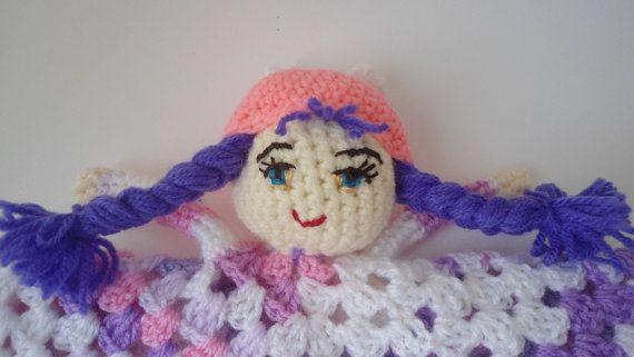Crochet security blanket baby blanket crochet doll by CRAZYBOOM