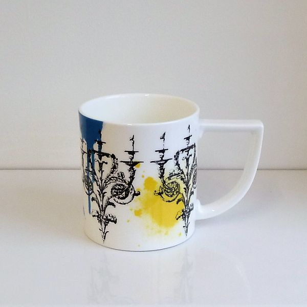 Handmade 'Candelabra' mug, a more recent design from our mug collection with a matching candle also available. Fine Bone China, Made in Stoke-on-Trent, England. #Colour #Candelabra #MadeInStokeOnTrent #MadeInEngland #Mug #FineBoneChina #Gift #GiftInspiration #Tea #Coffee
