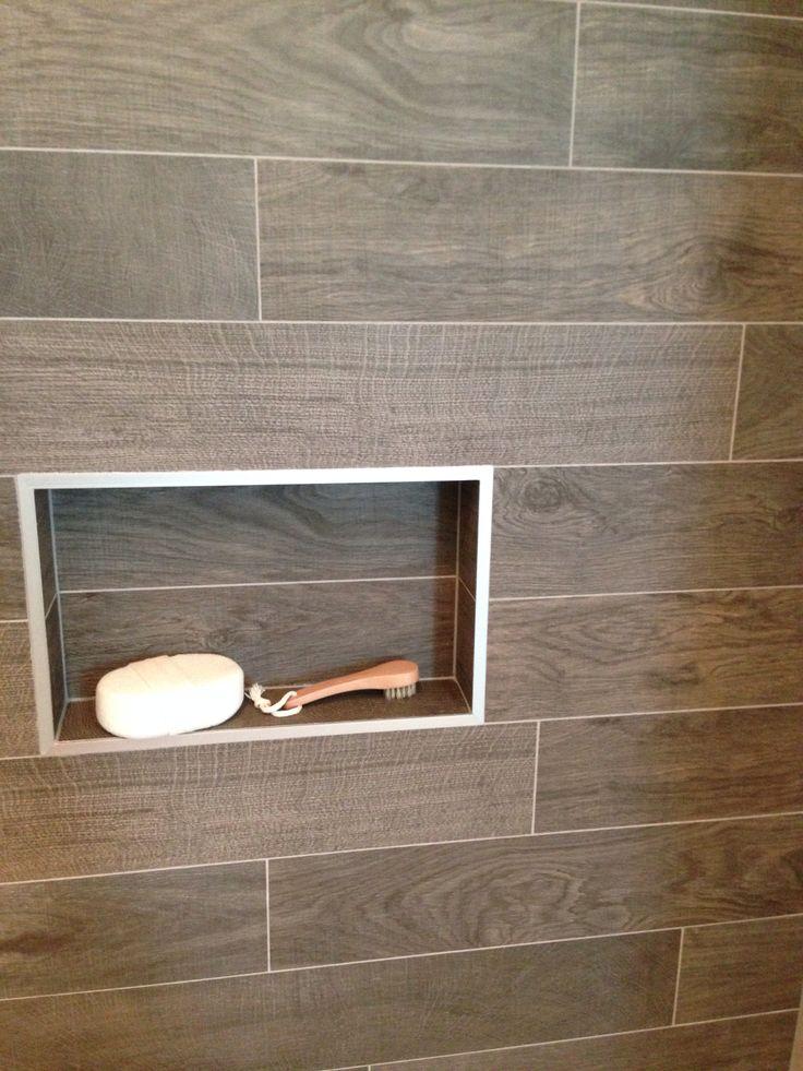 Porcelanosa Oxford Antracita Wood Look Tile In Shower