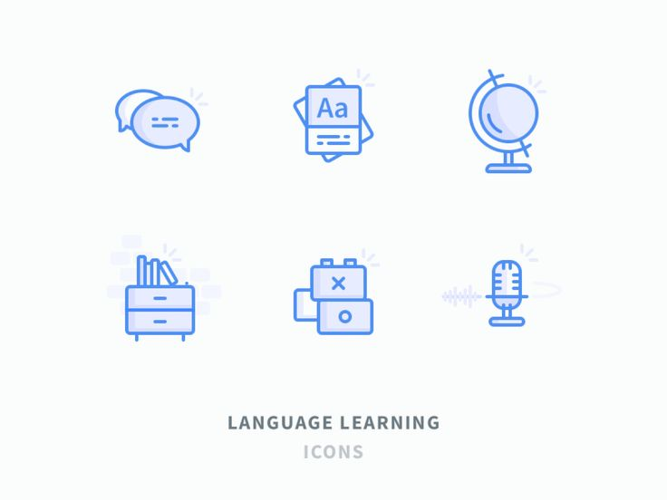 Language learning icons by Volkan Günal