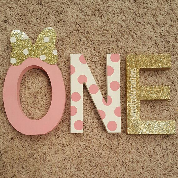 Minnie mouse first birthday wood letters