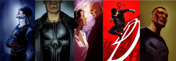 Mix de la série Daredevil, avec Le Punisher, Fisk et Vanessa
