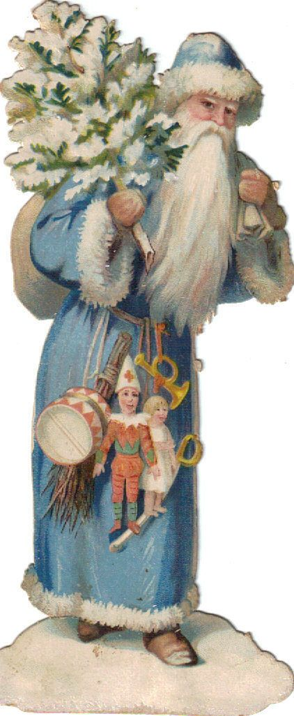 Blue Robed Santa Die Cut Scrap C1880