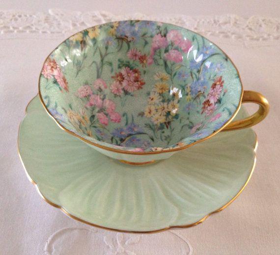 Plato y taza de té de Shelley «Melodía» zaraza adelfa