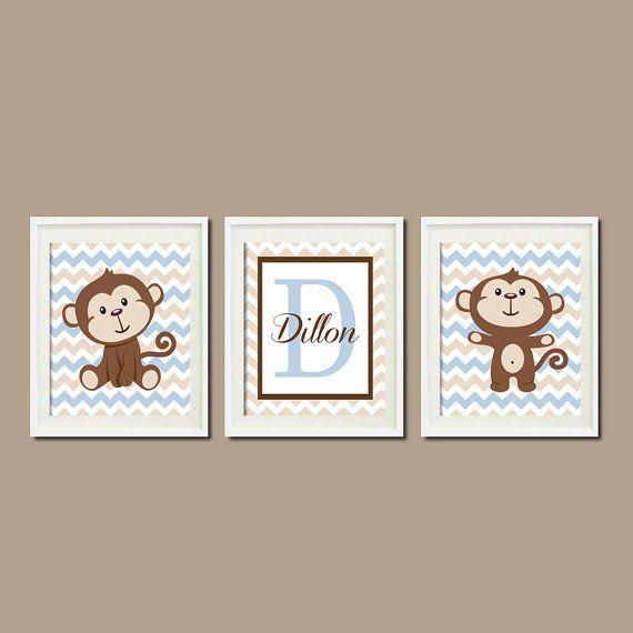 Monkey Nursery Art Decor Monogram Name Lagoon Blue Chevron Set of 3 Prints Personalized Nursery Art  Picture Wall Art Baby Shower Bedding on Etsy, $25.00