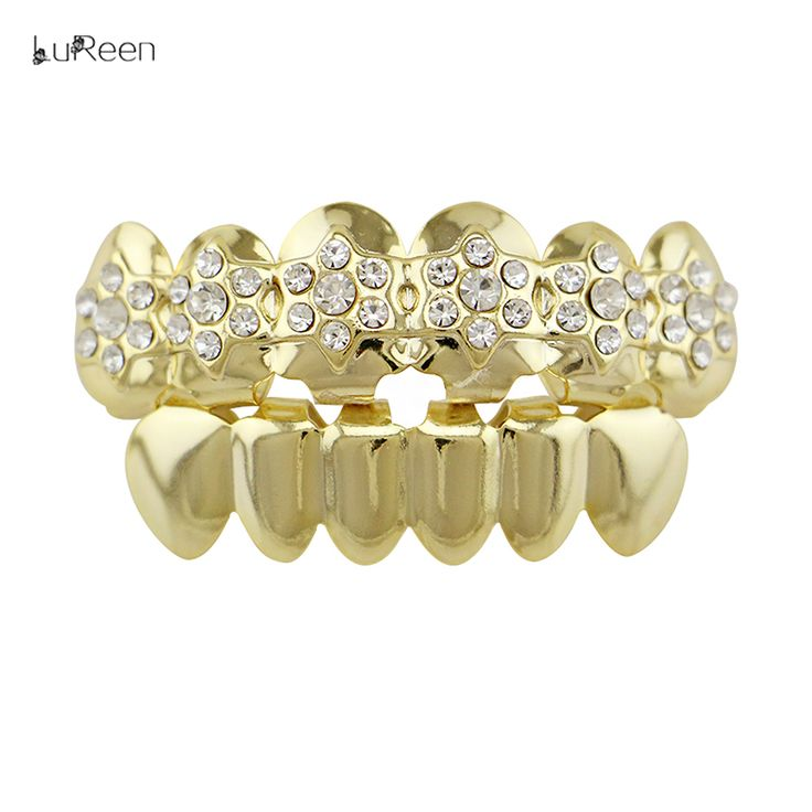 LuReen  Fashion Silver Gold Teeth Grillz Hollow Out Hiphop Grillz Dental Halloween Vampire Teeth Kit Party Tooth Jewelry LD0143USD 6.44/pieceLuReen Hiphop Gold Teeth Grillz Iced Out Colorful RhinestoneTop&Bottom Grill Fang Vampire Tooth Grillz Dental Halloween Jewelry USD 5.36-8.