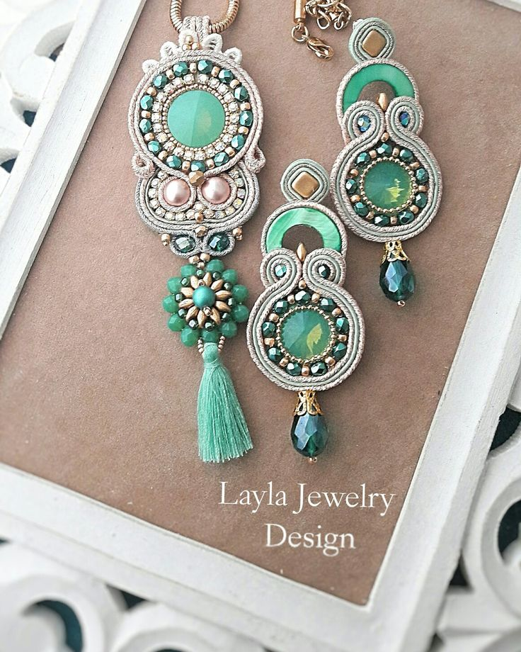 Soutache Jewelry. Green, gold, pink beads and rhinestones