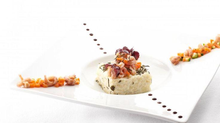 Grijze garnalen, risotto met Sencha Ariake thee en groentjes