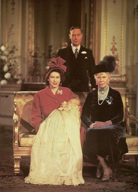 Four Generations of royalty together at Prince Charles christening. Mary of Teck, her son George VI, his daughter Princess Elizabeth II, and her son Prince Charles.
