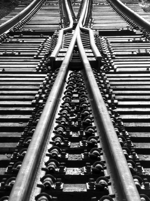 Abstract Photography Black and White Fine Art  Geometric Art Railroad Photograph Antique Finish Neutral Tones Home Office Decor Gift for Him