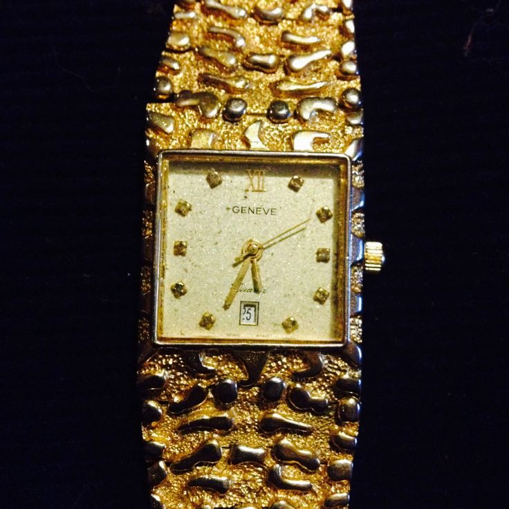 Vintage Geneve Dimonand and gold plated wristwatch by PastFunk on Etsy