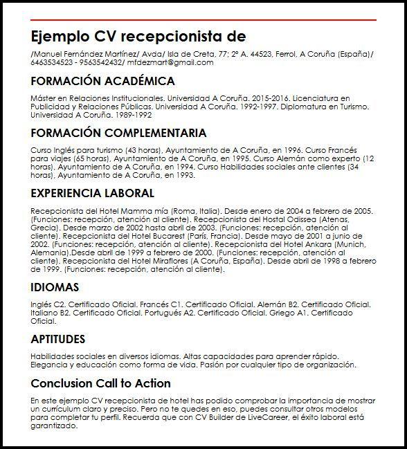Curriculum Vitae Recepcionista Modelos De Curriculum Vitae