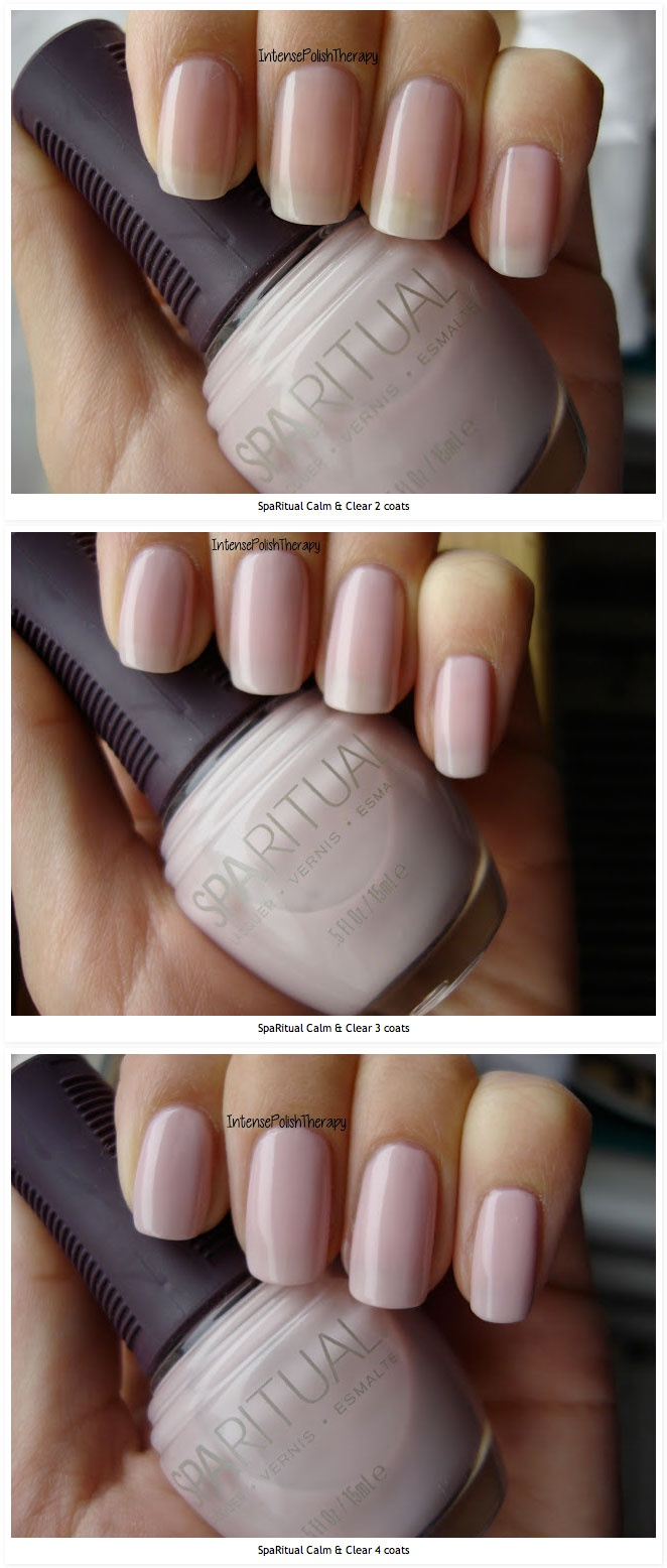 SpaRitual Calm & Clear :: A beautiful neutral pink--it's pretty sheer needs 4 coats to be completely opaque. However even with 2, 3 or 4 coats it's gorgeous. & would be beautiful alone or layering using glitter. It's sort of a mix between a cream polish & a jelly polish.
