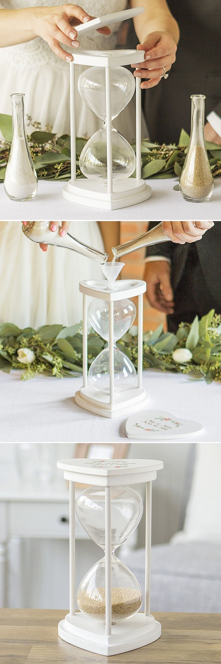Perfect idea for unity/sand ceremony. Hourglasses are one of our favorite things and having one that means so much, custom, hand poured in love would be amazing.
