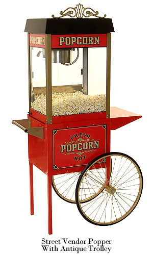 Benchmark USA Street Vendor 8 oz. Popcorn Machine and Antique Trolley combo.  Great way to enjoy those home movies!