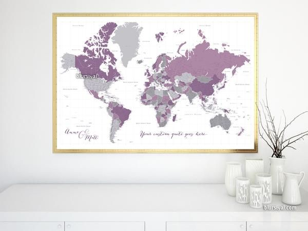 12 best large and highly detailed world map prints on paper personalized world map print highly detailed map with cities in purple and gray gumiabroncs Image collections