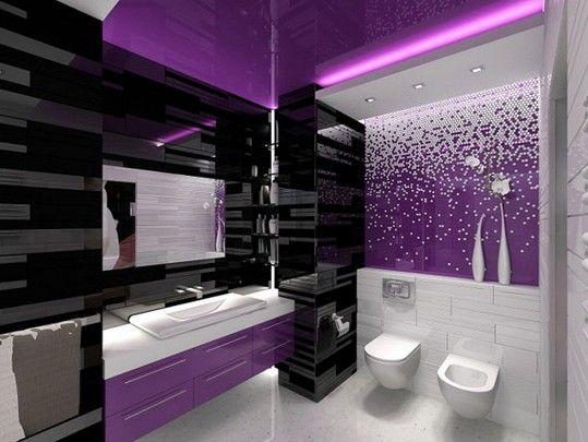 Fantastic Glossy Modern Bathroom Interior Design for purple color