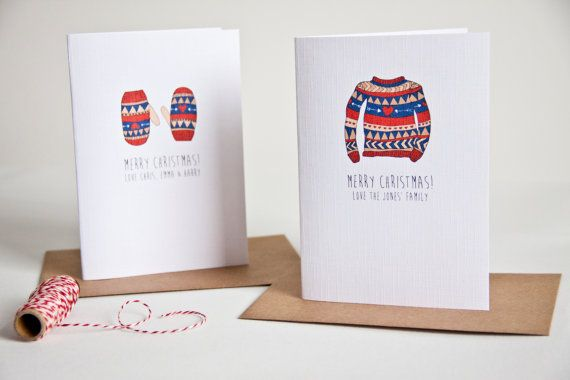 Personalised christmas card pack - equal amount of each design in each pack.    - A6 sized  - Printed on white textured linen card  - Hand Folded  -