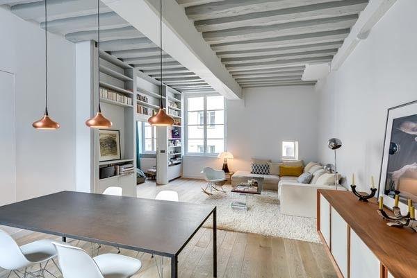 Woonkamer met open keuken uit Parijs