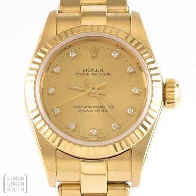 Rolex Uhr Oyster Perpetual Lady 750er Gelbgold Diamanten Ref. 67198 in Uhren & Schmuck, Armband- & Taschenuhren, Armbanduhren | eBay