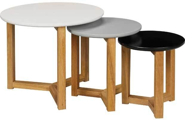 These round Coloured Nest of 3 tables are a stylish range of variable sized tables. A simple yet sophisticated design mean that these tables would fit effortlessly into a range of decorative themes. Use for placing a hot drink simply for popping the remote onto.