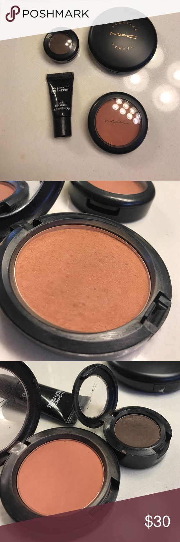 💄MAC Cosmetics make up bundle💄 Bronzer, blush, eyeshadow and sample bundle. All items have been used!! Used a few times, I've posted pictures above with details. MAC Cosmetics Makeup