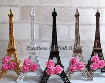 10 pulgadas Eiffel torre central, torre de Eiffel de negro, plata oro Tour Eiffel, París boda o nupcial ducha, pieza central de París
