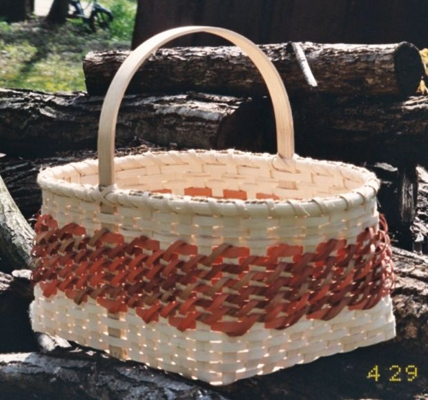 FREE PATTERN- Market Basket with diagonal curls.
