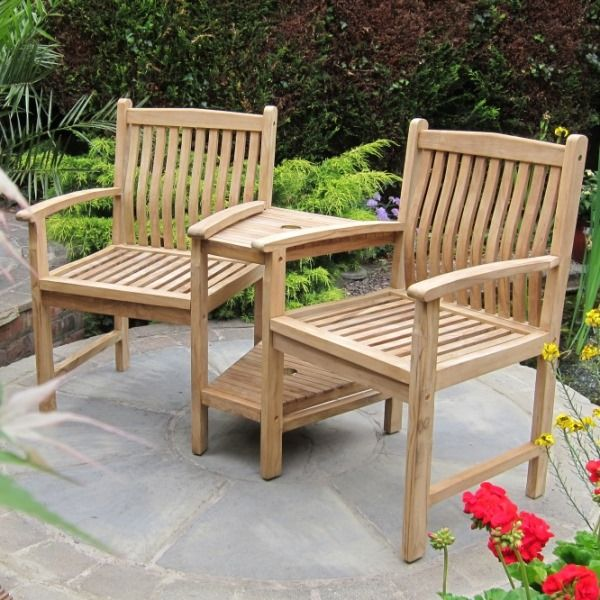 The chairs of the beautifully crafted Kendal Teak Companion Seat have curved back rests for extra comfort. The chairs are connected by a two tier table with ... & The 12 best Charming Companion Seats images on Pinterest