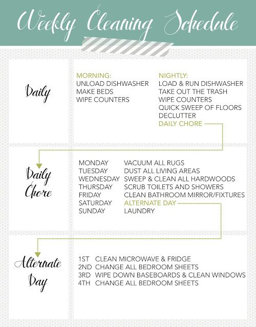 weekly cleaning schedule for my parents who have trouble keeping things clean