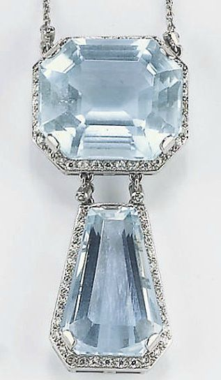 A PLATINUM, AQUAMARINE AND DIAMOND NECKLACE - The middle octagonal-cut aquamarine surrounded by diamonds suspending a trapezoid-cut aquamarine, mounted in platinum, stamped 950.