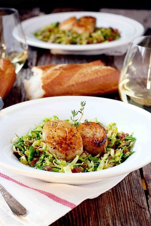 Seared Scallops on Shredded Brussels Sprouts and Crispy Pancetta