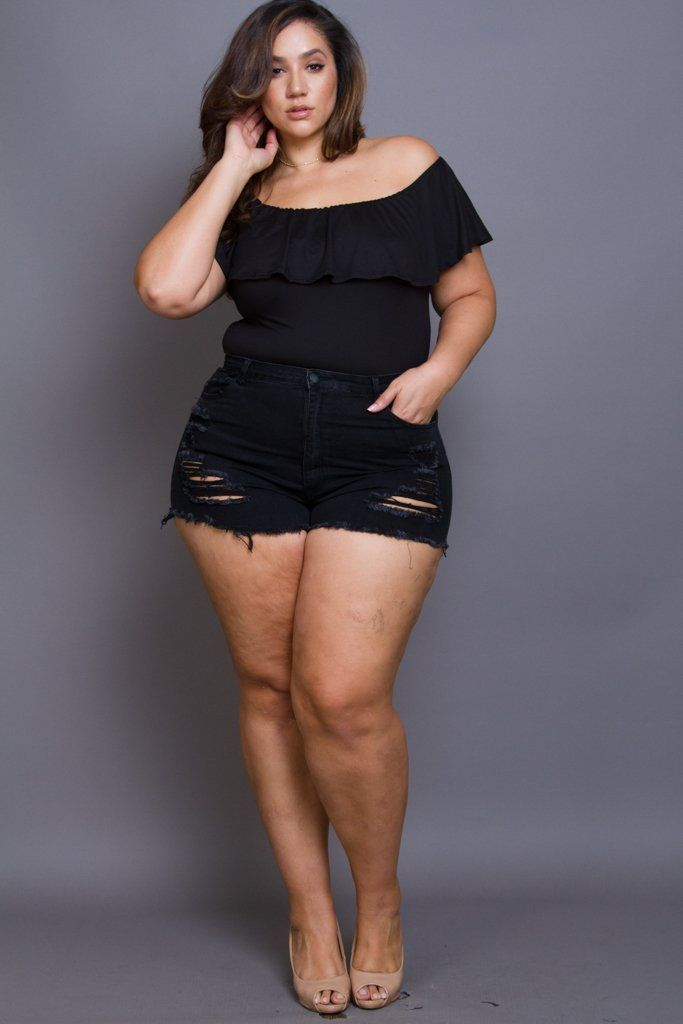 6a2b02a3da1 Plus Size Mini Denim Shorts in 2019