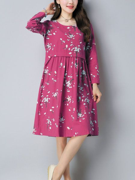 Plus Size Casual Floral A-line Long Sleeve Midi Dress