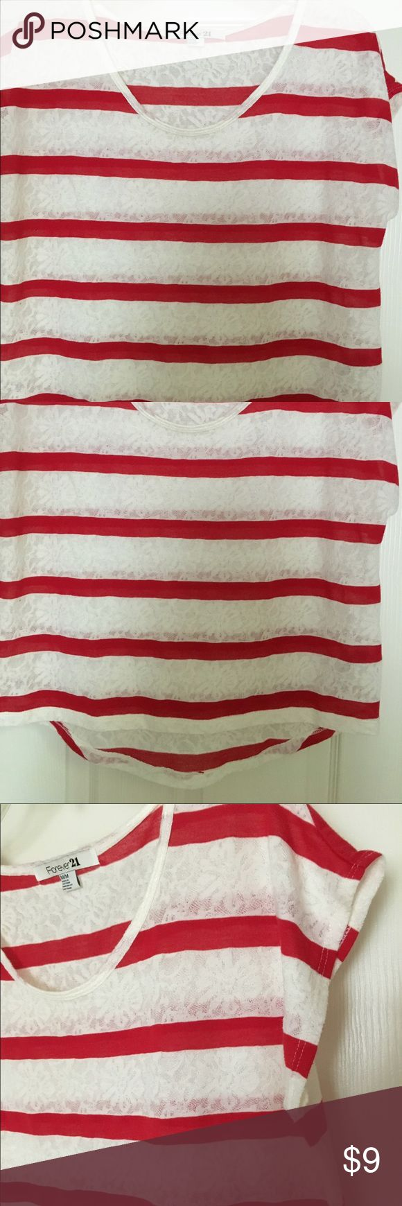 Forever 21 shirt Cute red & white striped shirt, cap sleeves Forever 21 Tops