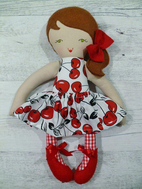 Sarah  Handmade rag doll 38cm 15 fabric doll cloth