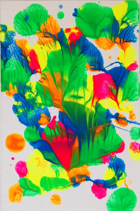 Octopus's Garden - Original Abstract Neon Painting by AdventurousRabbit