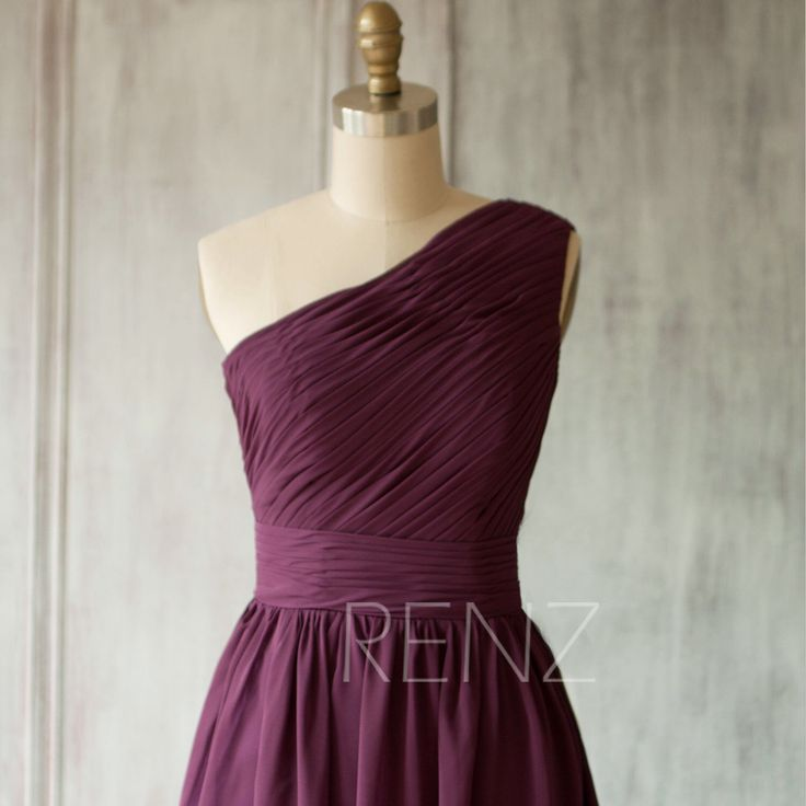 2016 Bright Plum Bridesmaid dres, Violet One Shoulder Evening dress, Romantic Wedding dress, Short Formal dress floor length (B083B) by RenzRags on Etsy https://www.etsy.com/listing/227612445/2016-bright-plum-bridesmaid-dres-violet