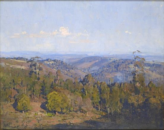 "Arthur Streeton ~ The valley from Kennon's ""simple composition, great colour & light."" KB"