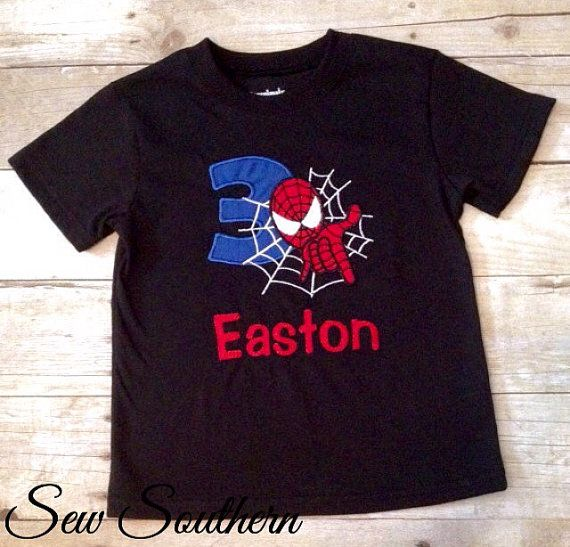 Custom Spider-man Birthday Shirt by ShopSewSouthern on Etsy