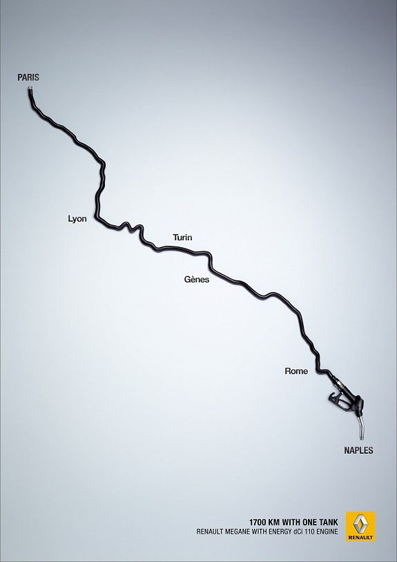 Print ad: Renault Megane: Paris-Naples