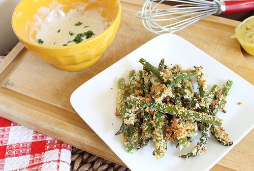 Lemon dijon crusted asparagus fries. A healthy, crunchy vegetable fry.