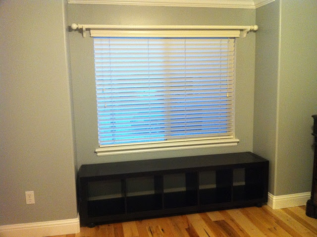 Expedit shelf used as a window seat.