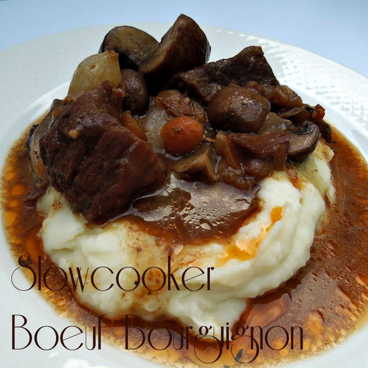 Slowcooker Beef Burgandy so good you can make it for company and they will never know you made it in the slow cooker!  - I think it would be great in a dutch oven on 250 degrees for that long and you can brown the beef first if you want that way to give it an even richer flavor