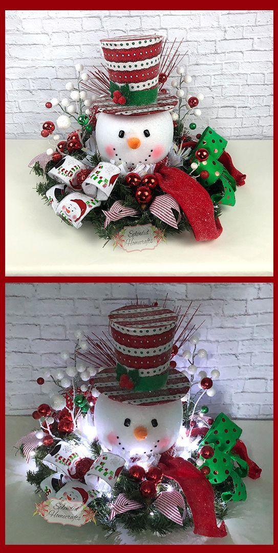 Light up Snowman Centerpiece, Christmas Centerpiece, Red Top Hat Snowman Centerpiece, Raz Christmas Centerpiece, Snowman Table Decor by Splendid Homecrafts on Etsy. #centerpiece #snowman #christmas