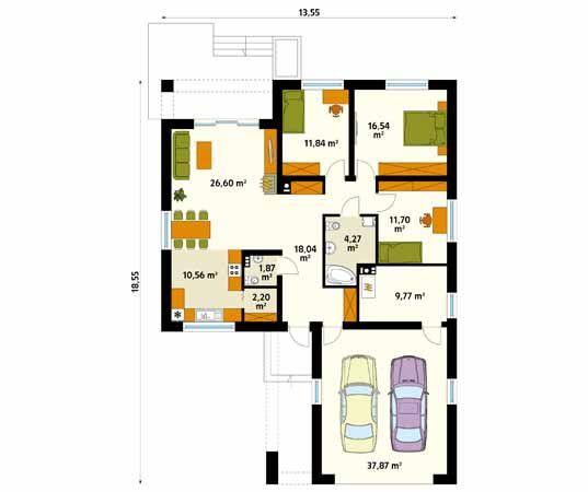 Projekt domu Kiwi 4 - rzut parteru