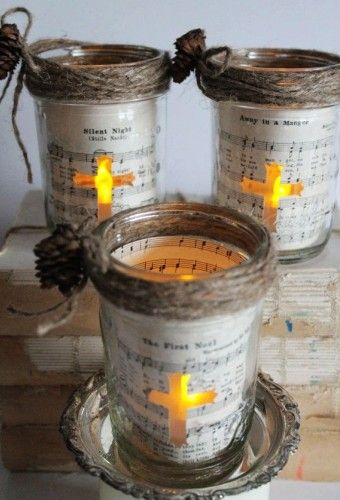 2014 Christmas mason jar luminary with cross - Christmas candleholders, pinecone decoration - cross: Mason jar magic By Contretto - LoveItSoMuch