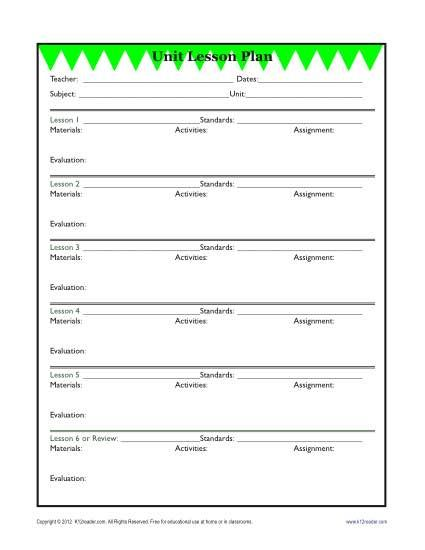 Detailed Unit Lesson Plan Template   Elementary. Lesson Plan TemplatesLesson  ...