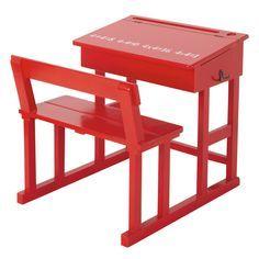 Bureau enfant en bois rouge L 65 cm Pupitre | Maisons du Monde