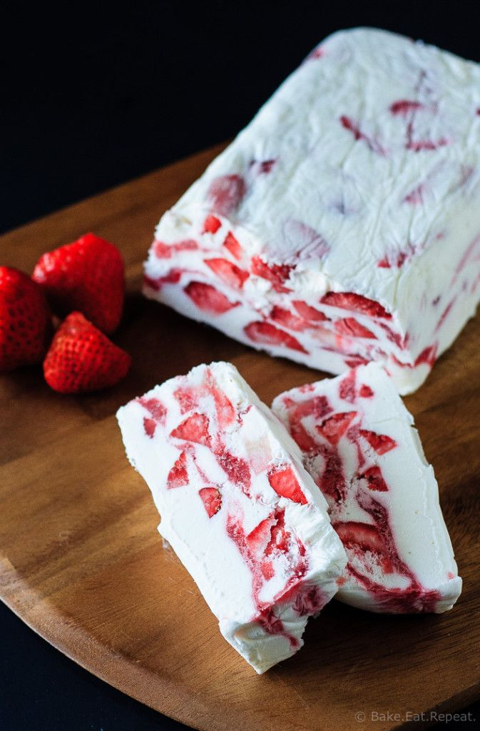 Strawberry Yogurt Terrine - A quick and easy no churn ice cream dessert that's perfect for Canada Day (or the 4th if you add some blueberries!) - strawberry yogurt terrine - icy, creamy, delicious.